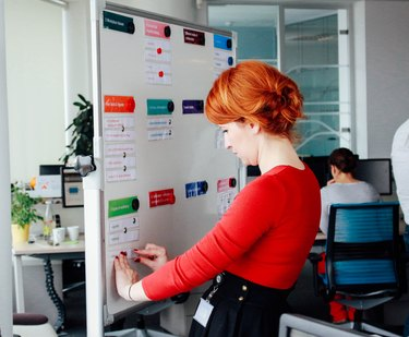 Young professional woman filling an accountability board