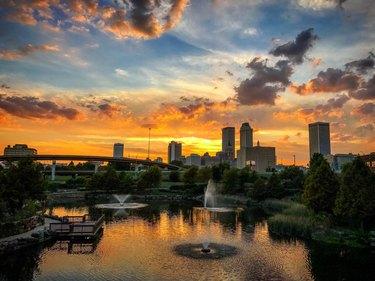 Skyline of Tulsa Oklahoma at sunset
