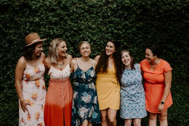 Group of girlfriends at a garden party