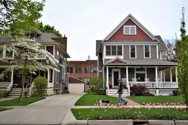 Historic homes in spring scene