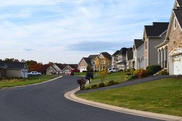 Row of suburban McMansions