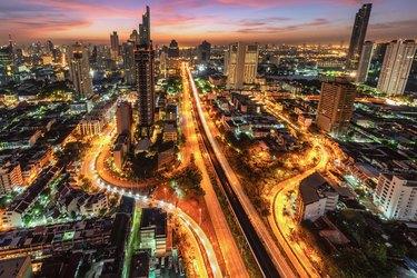 Aerial view of Bangkok at dusk