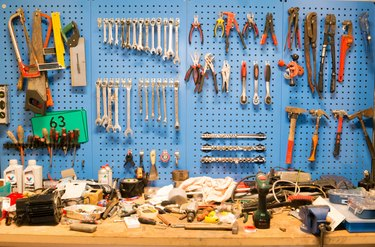 Nicely arranged wall of home improvement tools