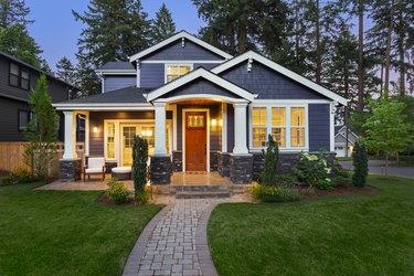 Beautiful luxury home exterior at twilight
