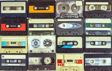 collection of various vintage audio cassettes