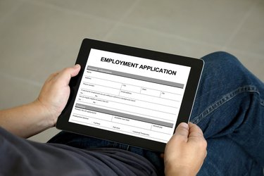 Employment application form job search tablet