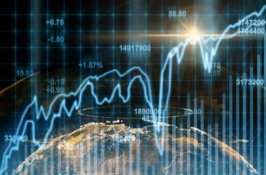 Abstract planet earth particle over the Stock market chart,Closeup Stock market exchange data on LED display, business and technology trading concept