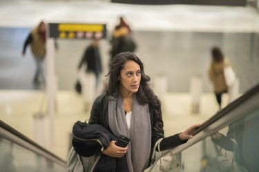 Middle eastern woman traveling