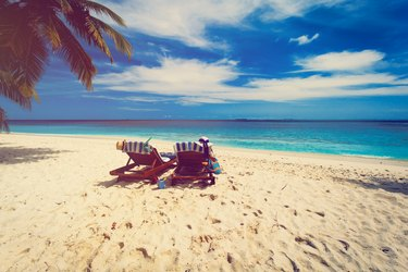 family chairs on the tropical beach