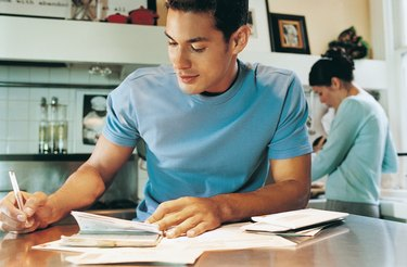 Man Writing in a Diary, Woman in the Background