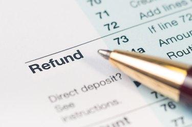 Tax refund form closeup