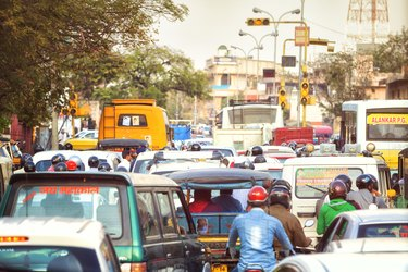 Busy Street in Jaipur, India.