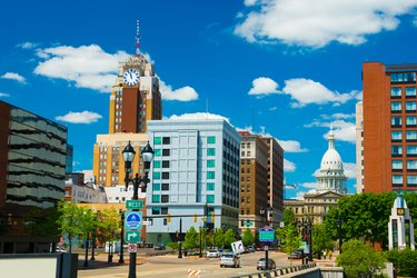 Lansing downtown skyline with the Michigan State Capitol