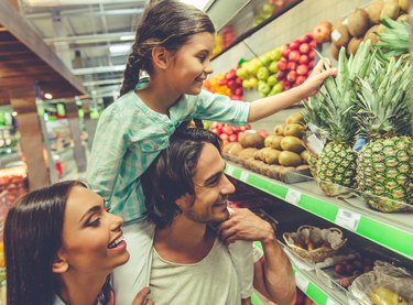 Family in the supermarket