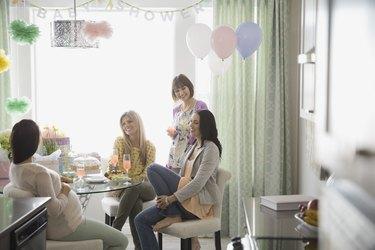 Women talking at baby shower