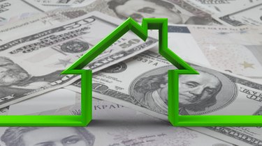 The Depreciation Method for a New RoofHouse outline on bw money background