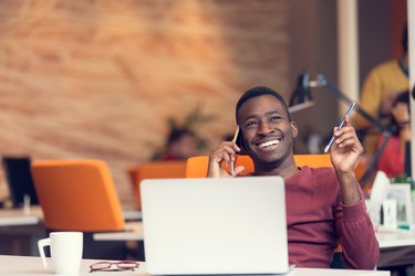 African American businessman on the phone