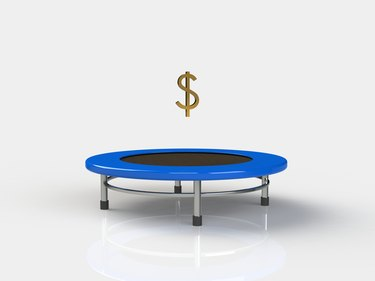 Do Banks Redeposit Returned Checks?         Economy Jumping on a trampoline on a white background