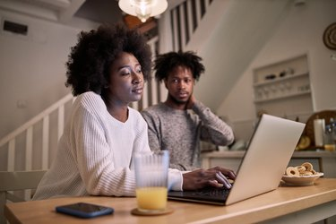 Young black couple spending time at home during a coronavirus lockdown