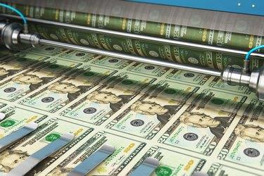 Printing 20 US dollar USD money banknotes