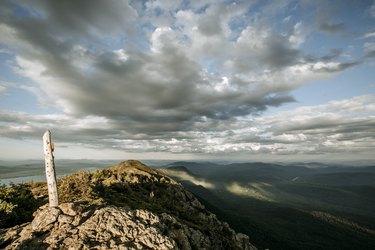Summit sign on West Peak, Appalachian Trail, Bigelow Mountain, Maine