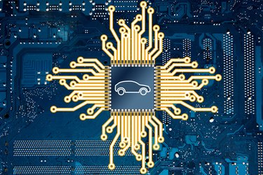 An illustration representing a computer circuit board and a car chip.