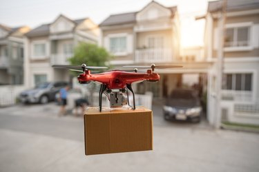 Editorial On 23 February 2020, Bangkok, Thailand Delivery drone flying in New york city