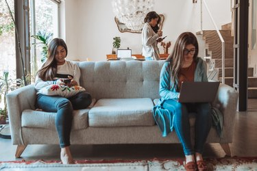 Women in smart working at home