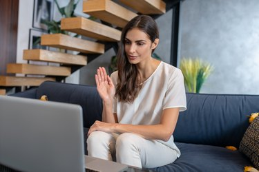 Woman having online therapy session