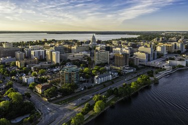 Aerial view of Madison city downtown at sunset, Wisconsin