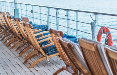 Empty Cruise Ship Main Deck with Deckchairs