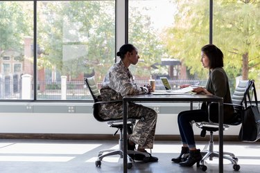 Bank officer meets with female soldier