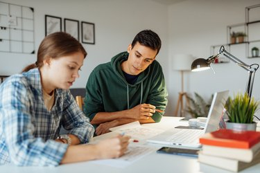 Students learning at home, working on university project