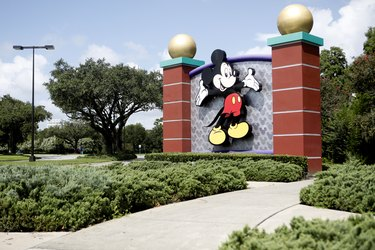 Mickey Mouse sign and surrounding scenery and terrain