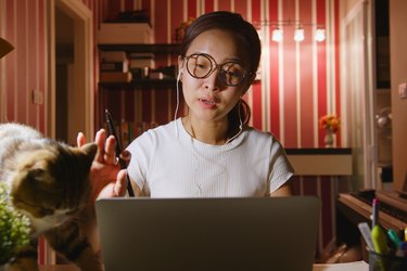 Asian businesswoman work from home at night overtime with pet(cat) interruption, video call conference or virtual meeting on laptop computerAsian businesswoman work from home at night overtime with pet(cat) interruption, video call conference or virtual m