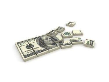 Illustration of a stack of $100 bills broken in squares