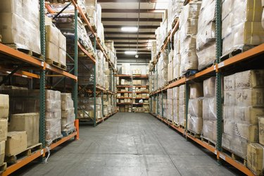 Stacked boxes in warehouse
