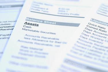 Closeup of a sheet of paper focusing on the word Assets