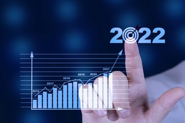 Target and goal Business analytics and financial concept, Plans to increase business growth and an increase in the indicators of positive growth in 2022