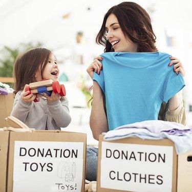 Woman donating clothing
