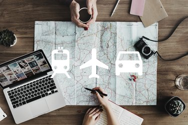 map and travel planning materials