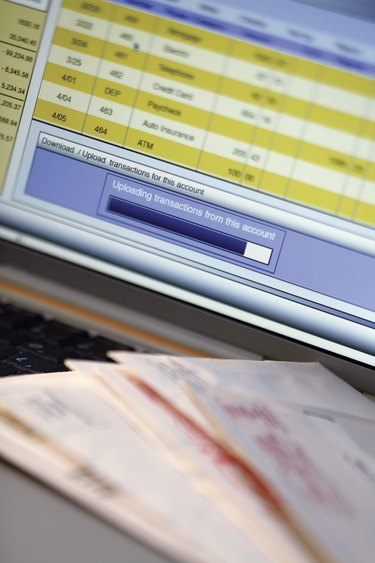 Online checking account on computer screen