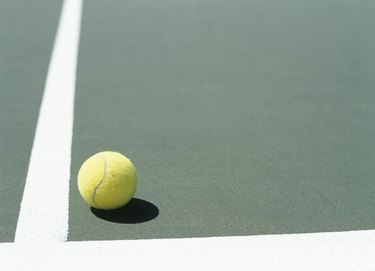 Tennis ball on court,close-up