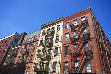 Tenement apartment buildings in Little Italy, Manhattan, New York City, NY