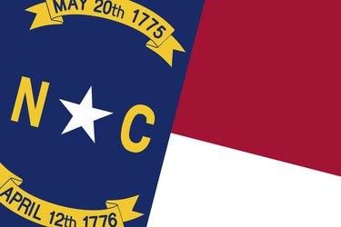 North Carolina Flag. Close up.