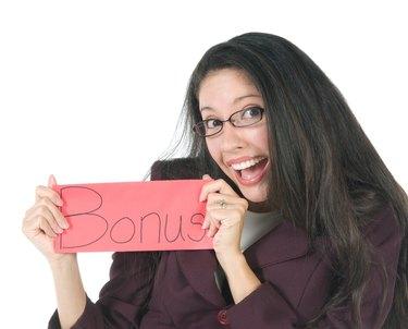 Employee with bonus envelope