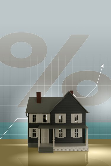 Model house, graph and percent sign
