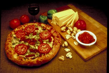 Pizza with tomatoes and olives
