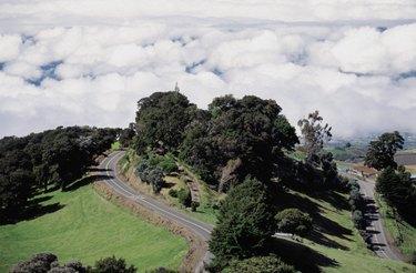 Winding road to Irazu Volcano, Costa Rica, USA