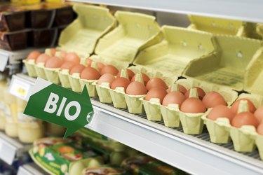 Display of Bio eggs in cartons